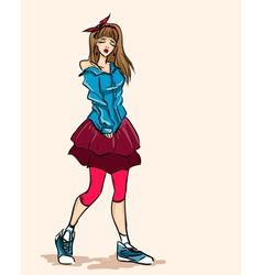 Elegant fashionable girl teenager in dress vector