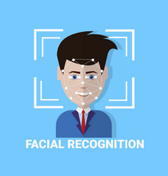 facial recognition biometrics scanning of male vector image