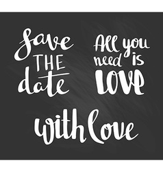 Fashion lettering - save the date with love and vector image