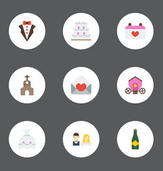 Flat icons patisserie fizz building and other vector