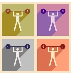 Flat with shadow concept icon man and the bar vector image