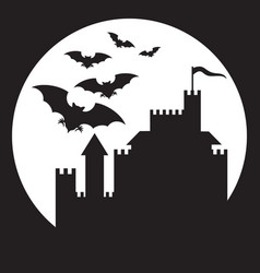 flying bats and old castle - halloween background vector image