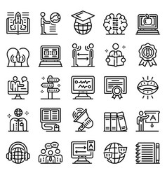 Foreign language teacher icons set outline style vector
