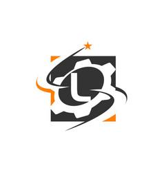 Gear solution logo letter l vector