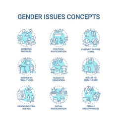 gender issues concept icons set vector image