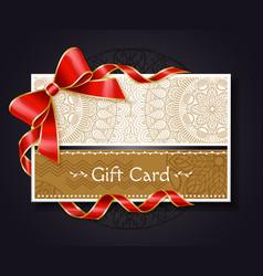 gift card with mandala ornament and bow ribbon vector image