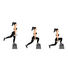 girl doing exercises dumbbells on step platform vector image