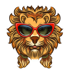 Glam lion with red sunglasses vector