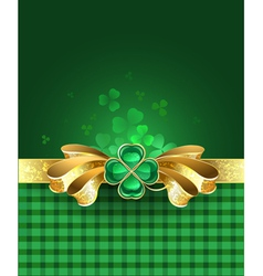 Gold bow with clover vector