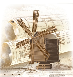 Grunge architectural background with a windmill vector