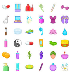 hairdressing tool icons set cartoon style vector image