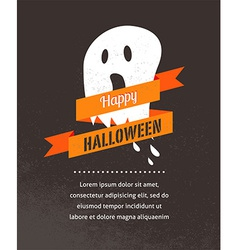 Halloween cute poster with ghost vector image