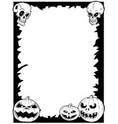 halloween frame with skulls and pumpkins vector image