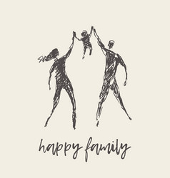 happy family silhouette hand drawn sketch vector image