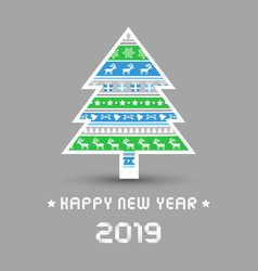 happy new year 2019 with christmas tree vector image