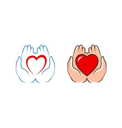 heart in hands logo charity assistance icon vector image