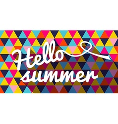 Hello summer quote on geometric color background vector