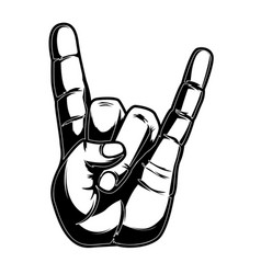 human hand with rock and roll sign design element vector image