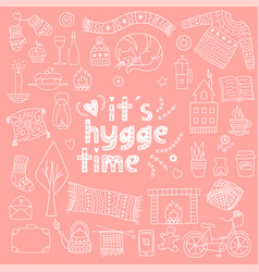 Hygge hand drawn doodle icon set vector
