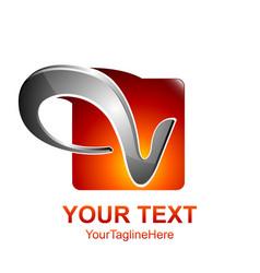 Initial letter v logo template colored orange vector