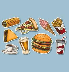 junk fast food burger and hamburger tacos vector image