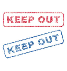 Keep out textile stamps vector