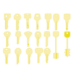 keys icons set isolated closing and opening vector image