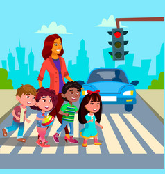 kindergarten teacher transfer across the road vector image