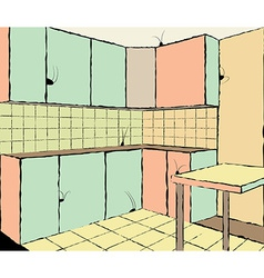 Kitchen with cockroachers vector image