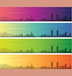 Lyon multiple color gradient skyline banner vector