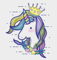 Magic and fantastic unicorn cute cartoon vector
