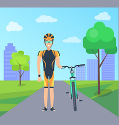 Male with bike in special uniform city park vector