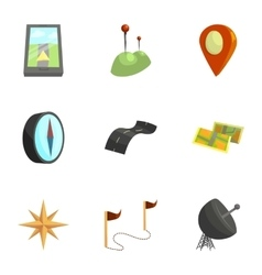 Map navigation icons set cartoon style vector