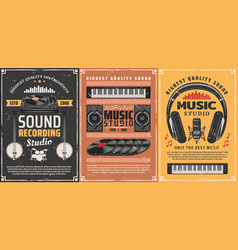 Microphone headphones musical instruments notes vector