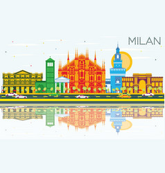 Milan skyline with gray landmarks blue sky and vector