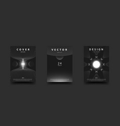 Monochrome space cover set abstract cosmos scenes vector