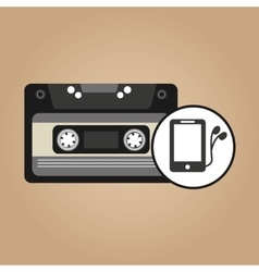 music cassette headphones vintage background vector image