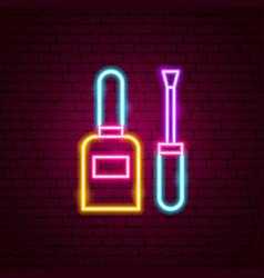 Nail polish neon sign vector