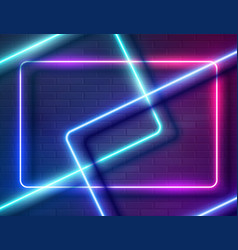 Neon glowing rectangle frame for banner on dark vector