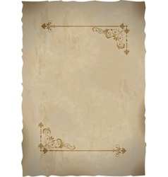 Old paper sheet with vintage frame vector image vector image