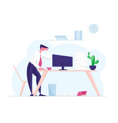 overwork burnout tiredness fatigue and depression vector image