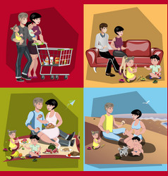 Parents and their kids in different situations set vector