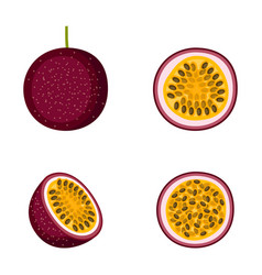 passion fruit whole fruit and halves on white vector image