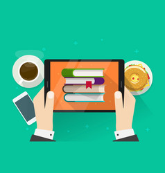 Person reading electronic books on tablet vector