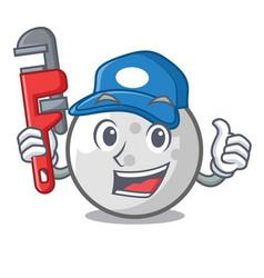 Plumber golf ball mascot cartoon vector
