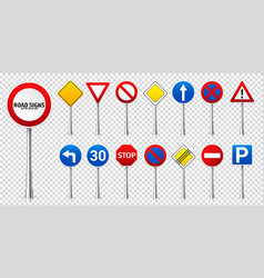 road highway regulatory signs set traffic control vector image