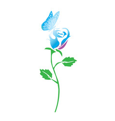 rose and butterfly vector image