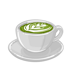 Round cup matcha coffee or tea with milk vector