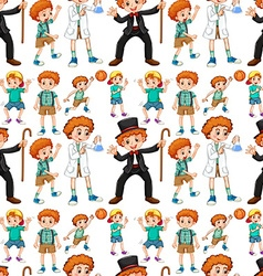 Seamless boys in different costume vector image