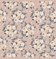 Seamless pattern texture with floral bouquet beige vector